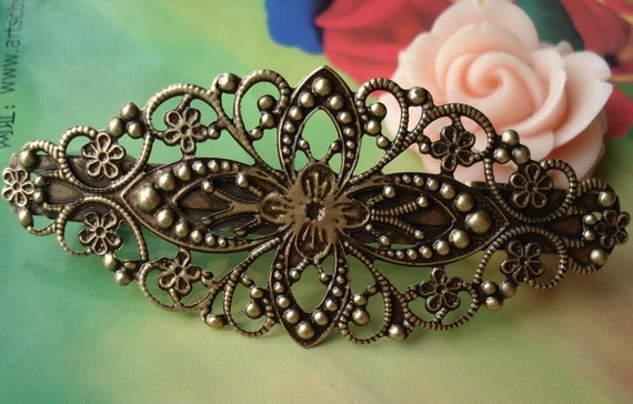 2 pcs 80x35mm Antique Bronze Vintage Brass Filigree Flowers Huge Hair Clips Bobby Pin Hairpins G39410