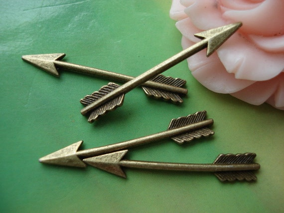 50 pcs 30x6mm Antique Bronze Brass 3D feather arrows arrowhead heads bows Charms Pendants atg12319