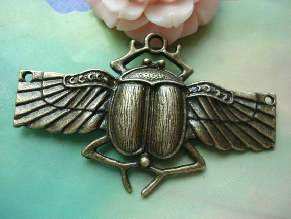 6 pcs 62x38mm Antique Bronze Large Beatles with Three Loops and Wings Connectors Links Charms Pendants 8342a04r1019
