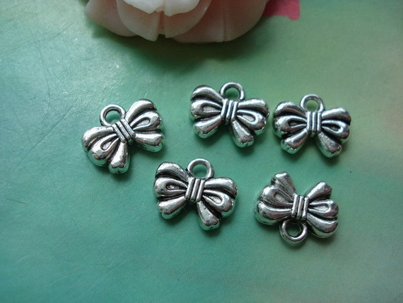 25 pcs 12x9mm Antique Silver Bowknots Bows Butterfly Double Sided Charms Pendants 1203a4r12