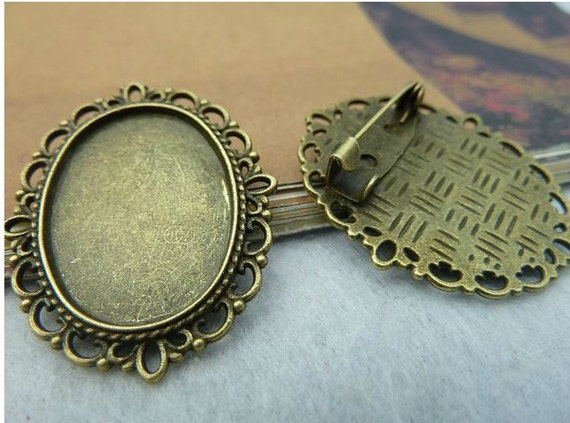 5 pcs Antique Bronze Vintage Lace With Brooch Pins Oval Cameo Cabochon Base Settings inner 18X25mm FC4252