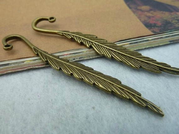 4 pcs 80x13mm Antique Bronze Small Feathers Trees Leafs Leaves Bookmarks Charms Pendants fc4332