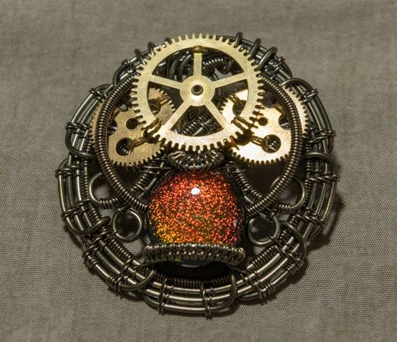Wire Wrapped Steampunk Brooch 'Mystical Clockworks'