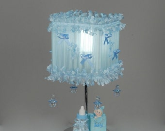 Blue Lamp shade with teats for new born baby boy