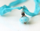 Ribbon Necklace / Aqua Necklac . Handmade Jewellery with Lampwork pendant. Gift idea - under 30 dollars