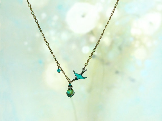 Blue Bird Necklace - A Dainty Necklace with Turquoise Pendant