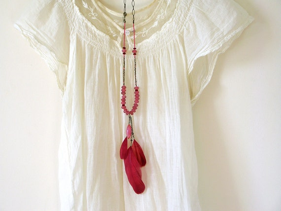 Red Feather Necklace. Handmade Statement Jewelry with red Jade gemstone. Bohemian Gypsy Style