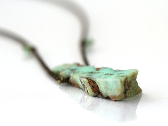 Chrysoprase Necklace. Long Chrysoprase Stone Pendant, on Bronze Beaded Necklace, in Mint Green