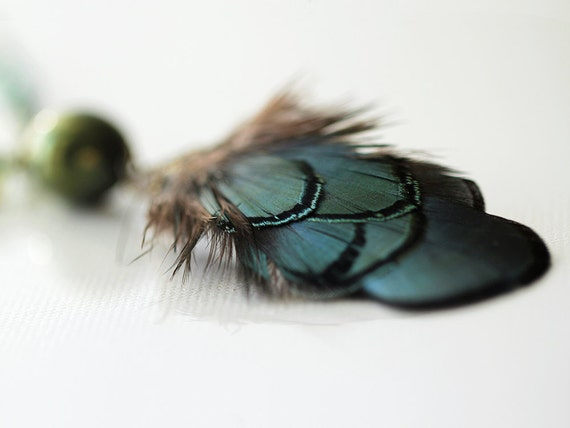 "Handmade Feather Necklace in Blue, Green & Black, on Long Beaded Chain - Adjustable Length from 18"" to 24"""