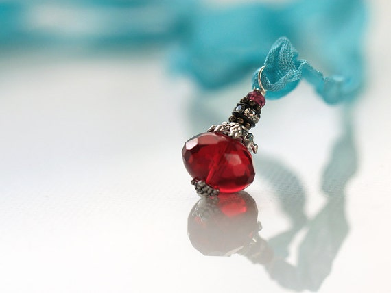 Red & Turquoise Ribbon Pendant Necklace with Bali Silver and Garnet Stone in adjustable Length