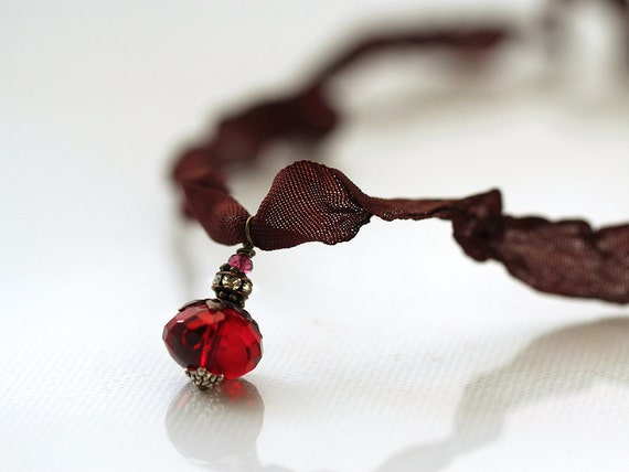 Ribbon Necklace. Handmade Jewellery with glass and Garnet gemstone pendant. Everyday Necklace