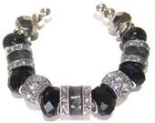 "Cuff Bracelet with European Style Beads ""Midnight"""