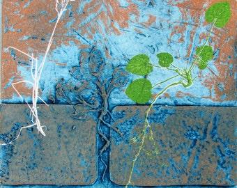 Urban nature print. Collograph mono print. OOAK.