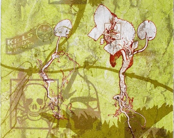 Eco art. Skull & Cross Bones. Monoprint, screenprint.  OOAK