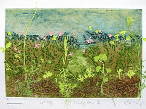 Hedgerow Flowers. Spring. Collograph mono print. Hand printed. OOAK.