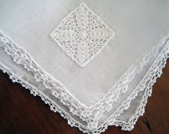 Vintage Hanky Cotton Organdy, Crochet Lace, Medallian Applique, Hand Rolled Hem, White. NEAR MINT