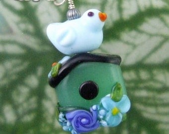 Happy Home Birdhouse Pendant, Torchwork Jewelry Handcrafted in North Carolina