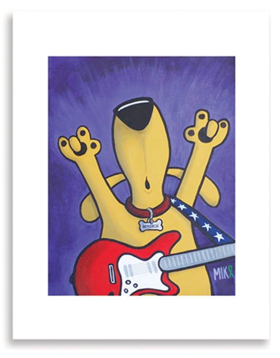Funny Dog Art Print, Dog Lover, Vet Office Art, Veterinarian Decor, Happiness Art, Dog Humor, Rock and Roll, Music Art, Vet's Gift
