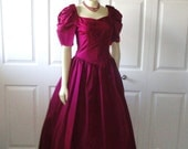 Vintage Dress 60s Princess Evening Gown Grape Purple Poof Sleeves Sweetheart Neck