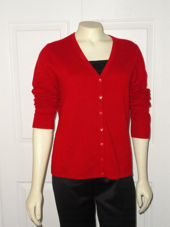 RESERVED Vintage Sweater Cashmere Cardigan Leyla Mitra for Jacobsons Christmas Red V neck M