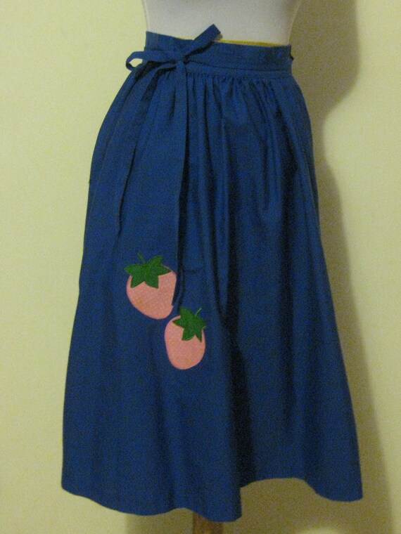 Vintage Blue with Strawberries Wrap Skirt