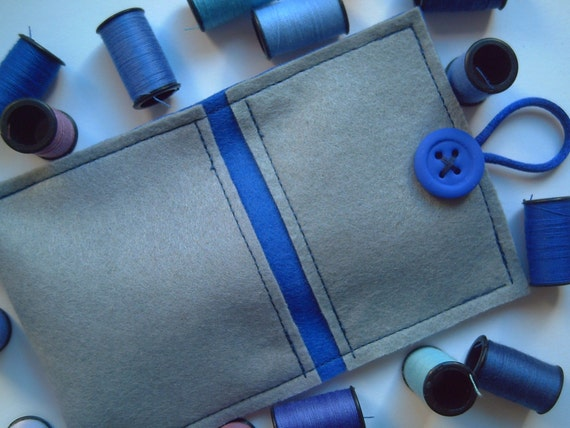 Gray and Dark Blue soft felt case for iPhone/iPhone whit front pocket