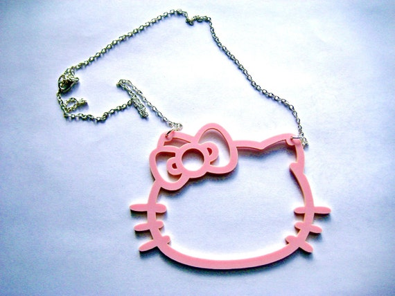 XL Hello Kitty Kawaii Statement Necklace light pink Kawaii Kitsch MEOW wear the bow right or left
