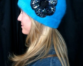 Beanie angora children adults turquoise flower.  Non profit. Sale