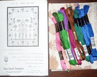 Jane Snead Samplers 433 Adam and Eve Vintage Cross Stitch Kit