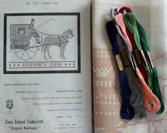 Jane Snead Samplers Vintage Embroidery Kit 535 Gurney Cab Sampler