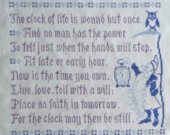 Jane Snead Samplers Vintage Stamped Cross Stitch Kit 449 Clock of Life