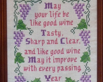 Jane Snead Samplers Vintage Stamped Cross Stitch Embroidery Kit 489 Good Wine Sampler