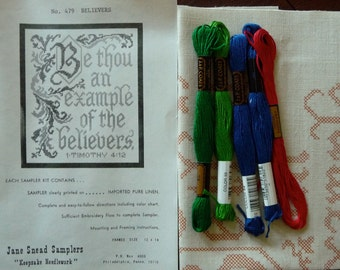 Jane Snead Samplers Vintage Cross StitchEmbroidery Kit 479 The Believers