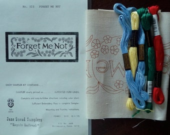 Jane Snead Samplers Vintage Cross Stitch Embroidery Kit  523 Forget Me Not