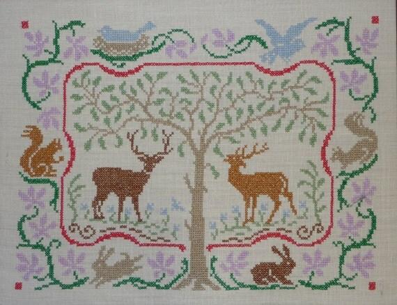Jane Snead Samplers Vintage Cross Stitch Embroidery Kit 488 Nature Scene Sampler