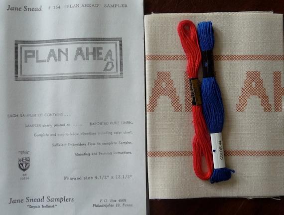 Jane Snead Samplers Vintage Cross Stitch Kit 354 Plan Ahead Sampler