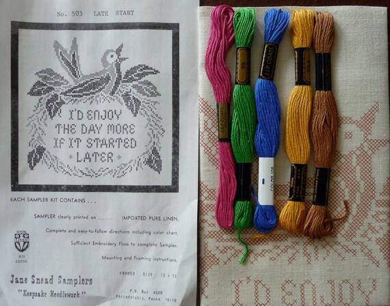 Jane Snead Samplers Vintage Cross Stitch Embroidery Kit  503 Late Start Sampler