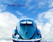 VW Beetle Split rear window vintage Fine Art print Canvas