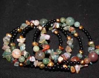 Indian Agate Memory Coil Bracelet