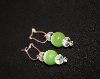 Green Cats Eye  Earrings