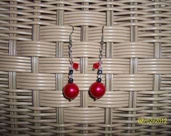 Red Crystal Pearl Earrings