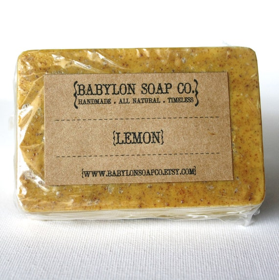 Lemon Soap . Exfoliating Soap . All Natural Soap . Handmade Soap . Unscented Soap . Vegan Friendly Soap