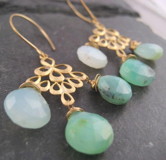 Aqua Peruvian Opal Chandelier Earrings, Gemstone Earrings, Blue Green Gemstone, Filigree, Custom Stone, Gemstone Jewelry