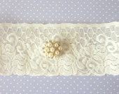 Bridal Garter - Ivory with Pearls - Special Offer for Limited Time ONLY 30% Off