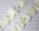 Ivory Garter Set / Wedding Garter including toss Garter / Garter - Simply Pearls Bridal Garter Set