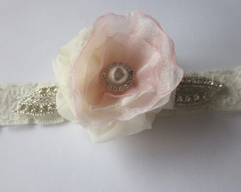 Bridal Garter - NEW 2012 Stardust Elegance  - Soft Pink & Ivory - Available in all colours