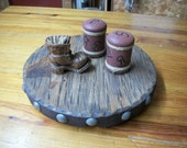 Recycled rustic wood lazy susan