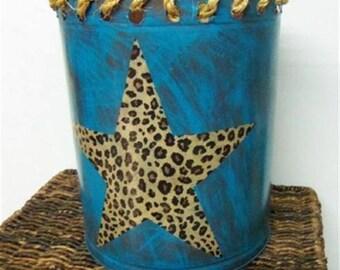 Western/cowgirl  turquoise metal wastebasket