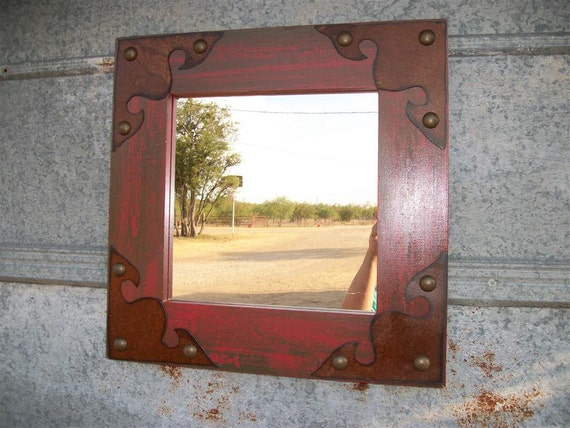Rustic decor red mirror with rusty tin accents