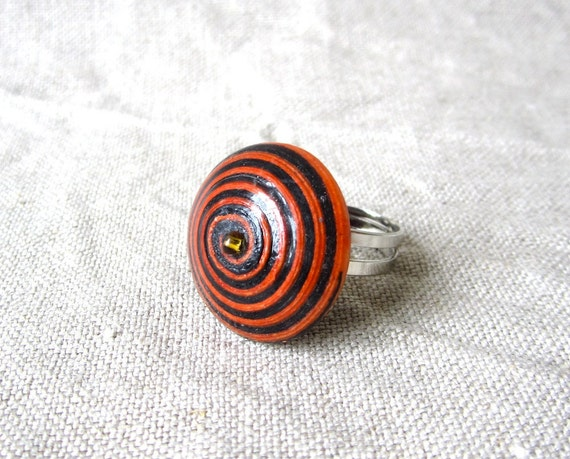 Ring, orange, black, stripe, recycled paper bead, spiral, colorful, recycled paper beads, African Ugandan